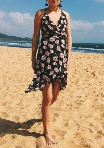 Black Flowers Irregular Draped Backless V-neck Bohemian Sweet Midi Dress