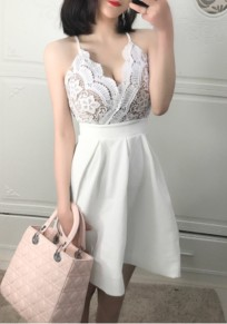 White Lace Pleated Spaghetti Strap Backless Deep V-neck Party Mini Dress