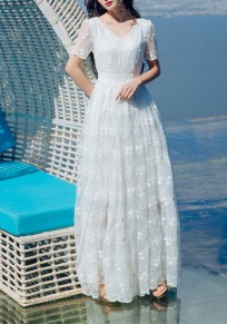 White Embroidery Grenadine Draped V-neck Sweet Elegant Beach Maxi Dress