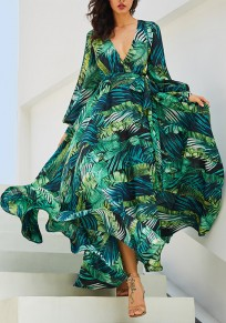 Green Palm Leaf Pattern Floral Deep V-neck Long Sleeve Flowy Bohemian Tropical 70s Casual Maxi Dress