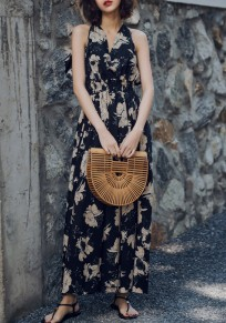 Black Floral Tie Back Ruffle Draped V-neck Fashion Maxi Dress