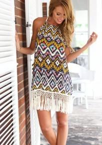 Mini robe pompon géométrique dos-nu col rond multicolore