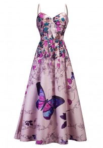 Pink Flowers Butterfly Print Draped Spaghetti Strap Backless V-neck Party Midi Dress