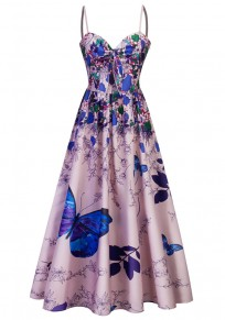 Blue Flowers Butterfly Print Draped Spaghetti Strap Backless V-neck Party Midi Dress