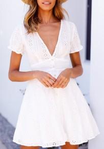 Mini-robe évasée single-breasted v-cou manches courtes mode boho d'été blanc