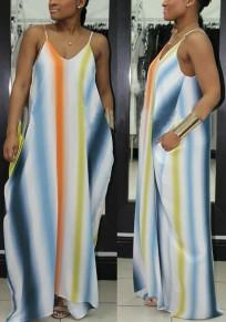 Green Striped Pockets Spaghetti Strap Backless V-neck Casual Beach Maxi Dress