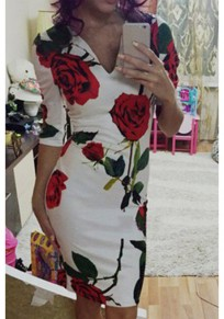 White Floral Print V-neck Elbow Sleeve Fashion Midi Dress