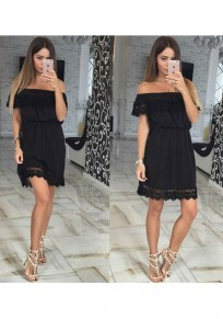 Black Patchwork Lace Cut Out Boat Neck Sweet Mini Dress