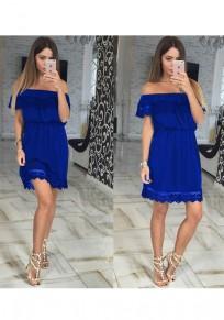 Blue Patchwork Lace Cut Out Boat Neck Sweet Mini Dress