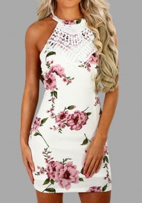 White Floral Lace Cross Back Round Neck Sweet Mini Dress