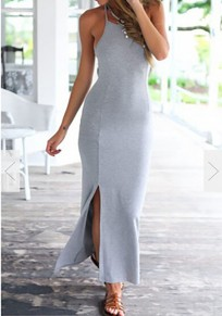 Grey Side Slit Tie Back Backless Bodycon Casual Beach Maxi Dress