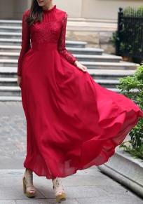 Vestido largo cclace volante drapeado cuello redondo manga larga elegante rojo vino
