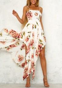Weiß Rosa Blumen Unregelmäßige Spaghettiträger Schlitz Rückenfreies Bohemian Maxikleid Partykleider Strandkleid