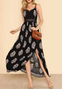 Black Floral Spaghetti Strap Lace Cut Out Slit Zipper Casual Going out Maxi Dress