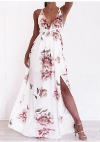White Floral Spaghetti Strap Lace-Up Side Slit Backless Flowy V-neck Bohemian Maxi Dress