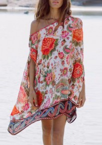 Red Tribal Floral Print Irregular One-shoulder Cover-Up Bikini Bohemian Smock Mini Dress