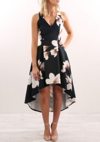 Navy Blue Floral Ruffle Swallowtail V-neck Fashion Midi Dress