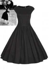 Mi-longue robe patineuse plissé manches courtes audrey hepburn vintage de soirée noir