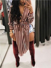 Red Striped Sashes high side slit V-neck Casual Party Midi Dress