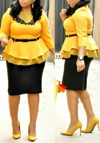 Yellow Polka Dot Appliques Belt Peplum Two Piece Wocker Suit Elegant Midi Dress