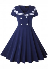 Navy Blue Buttons Pleated Peter Pan Collar Vintage Elegant Midi Dress