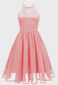 Pink Cut Out Lace Pleated Backless Chiffon Party Midi Dress