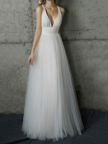 White Patchwork Grenadine Draped Backless Deep V-neck Banquet Bridesmaid Elegant Party Maxi Dress