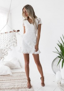 White Floral Lace Ruffle V-neck Short Sleeve Fashion Mini Dress