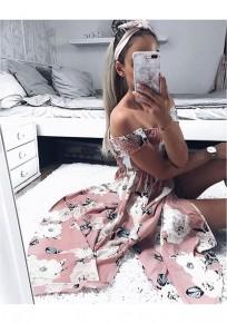 Rosa Blumen Unregelmäßige Rückenfrei Boot-Ausschnitt beiläufige Maxi-Kleid