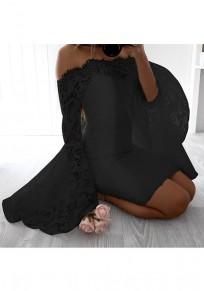 Schwarz Blumen Spitze Boot-Ausschnitt Langarm Mode Midi-Kleid