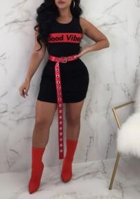 "Minivestido bodycon estampado ""good vibes"" cuello redondo fiesta negro"