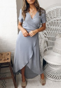 Grey Sashes Irregular Draped V-neck Elegant Party Maxi Dress