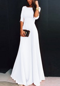 223139aa White Plain Draped Round Neck Three Quarter Length Sleeve Elegant Maxi Dress