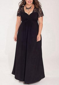 Black Patchwork Draped Lace V-neck Short Sleeve Elegant Maxi Dress