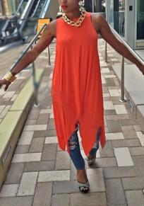 Midi-robe drapée irrégulière fluide col rond décontractée orange