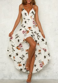 White Floral Pattern Irregular Spaghetti Strap High-Low Deep V-neck Bohemian Party Maxi Dress