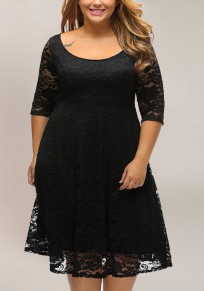 Black Lace 3/4 Sleeve Plus Size Elegant Party Midi Dress
