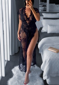Black Lace Thigh High Side Slits V-neck Sheer Clubwear Party Maxi Dress