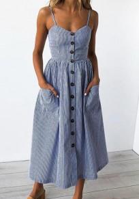 Midi-robe rayée poitrine poches v-cou bleu foncé