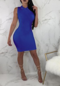 Blue Bodycon Peter Pan Collar Office Worker/Daily Clubwear Party Mini Dress