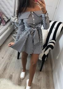 Schwarz Weiße Gestreiften Einreiher Gürtel Rückenfreies Off Shoulder Langarm Minikleid Sommerkleid Kurz