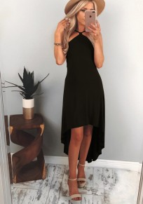 Black Ruffle Irregular Condole Belt Fashion Midi Dress