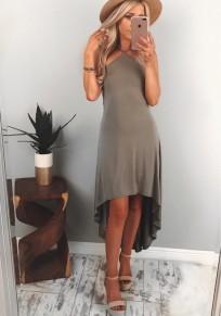 Khaki Ruffle Irregular Condole Belt Fashion Midi Dress