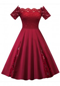 Burgundy Patchwork Lace Pleated Off Shoulder Tutu Elegant Party Midi Dress