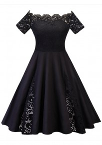 Black Patchwork Lace Pleated Off Shoulder Tutu Elegant Party Midi Dress