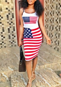 White American Flag Print Independence Day Spaghetti Strap Two Piece Casual Midi Dress