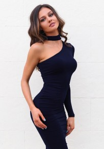 Navy Blue Zipper Asymmetric Shoulder Fashion Midi Dress