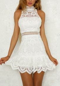 White Floral Lace Buttons Cut Out Round Neck Sweet Mini Dress