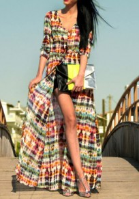 Green Striped Single Breasted Cut Out V-neck Fashion Maxi Dress