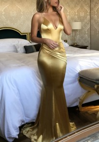 Vestido largo correa de espagueti bodycon sirena con escote en V talle alto fiesta elegante dorado